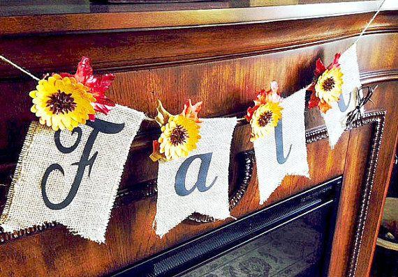 Burlap Fall Banner Burlap Fall Bunting by AllTogetherwithLove