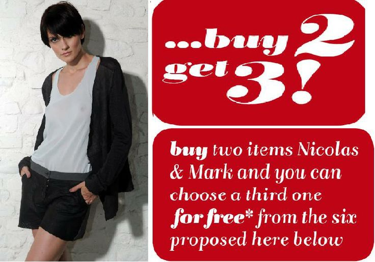 Buy 2 get 3! Buy two items of Nicolas & Mark and you can choose a third one for FREE* from the items . #Fashion #Clothing