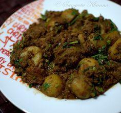 banaras ka khana: alu dum with chicken keema | keema alu dum..