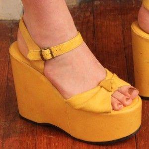 1970's Yellow Platform Shoes