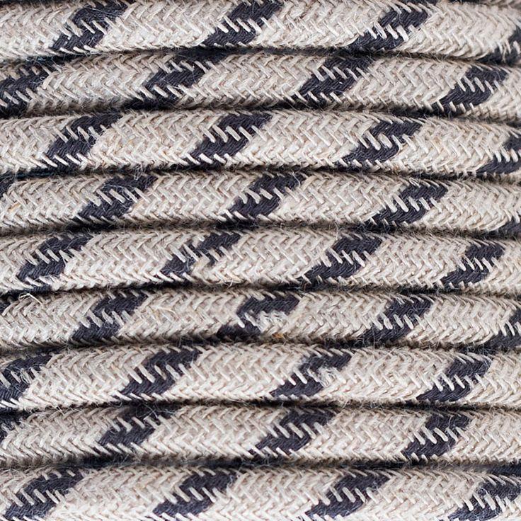 Comprar | Cable textil decorativo bicolor lino antracita | Comprar cables textiles eléctricos decorativos de colores  #iluminacion #decoracion #accesorioslamparas #lamparas #cablesdecolores  #cables electricos