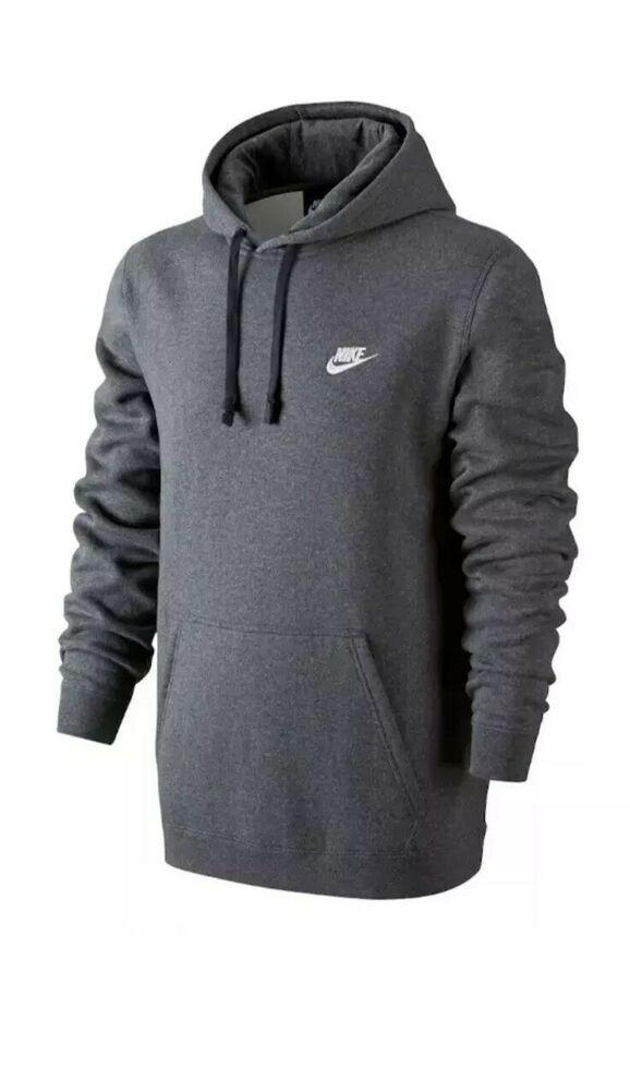 45188685c222 Nike Club Fleece Pullover Hoodie Mens 804346-071 Charcoal Grey Hoody Size  3XL  Nike  Hoodie