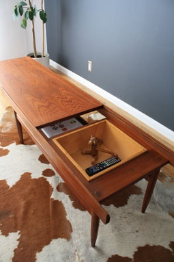 Mid Century Modern Coffee Table With Storage This Teak Coffee Table Has A Sliding Top