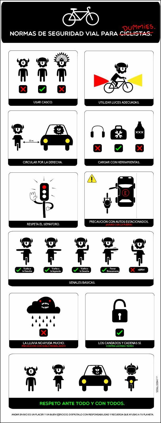 Normas de Seguridad Vial para Ciclistas by Veo Mostros. ¿Puedes escribir los comandos en imperativo?