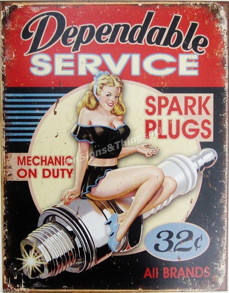 Dependable Service Spark Plug Pinup Girl TIN SIGN metal garage wall decor 1991