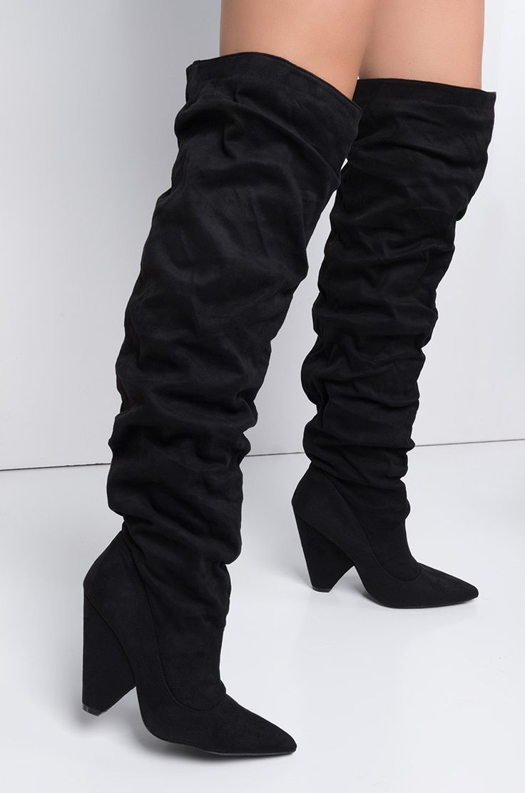 Side View Dangerously In Love Coned Heel Slouchy Boots in Black