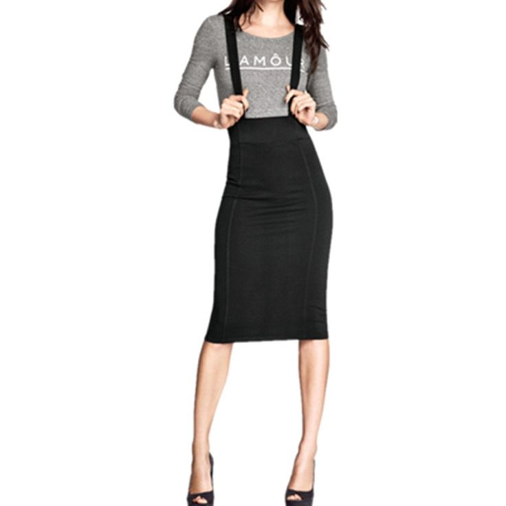 WUKE Women's Suspender Skirts Basic High Waist Bodycon Skirt