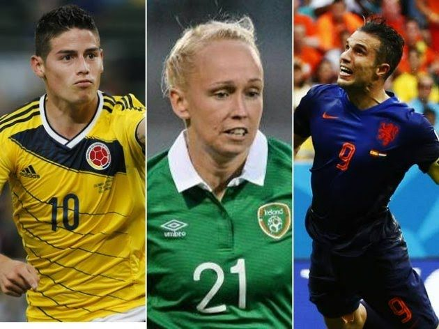 FIFA Puskás Award 2014.   The shortlist of three (view the goals and cast your vote):  Stephanie Roche  James Rodriguez  Robin van Persie