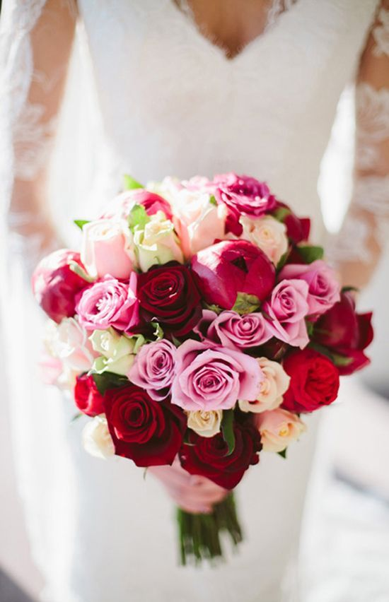 Sophie and Marty's Romantic Winter Wedding (Gorgeous coloring in this bouquet! With Peonies, roses, and light sprinkling of greens)