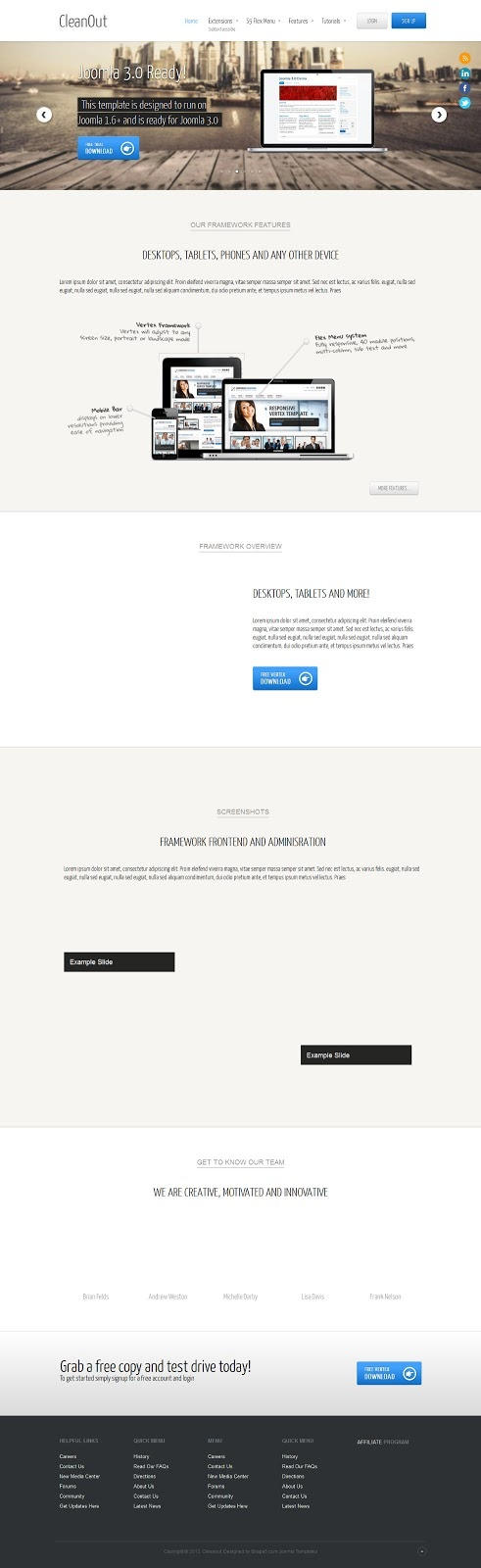 The CleanOut template is an amazing modern design for a site - copy free blueprint design app