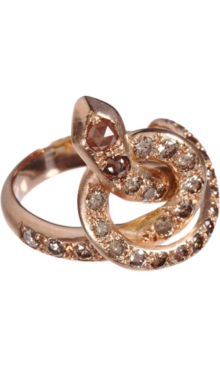Ileana Makri Berus Snake Ring in 18k gold with champagne diamonds