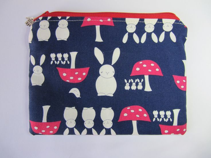 Rabbits & Toadstools Makeup Bag, Navy Cosmetic Purse, Blue Zip Purse, Bunny Zip Pouch by BobbyandMeSew on Etsy