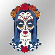 funny car bumper sticker sugar skull girl gothic pagan female 90 x 138 mm decal