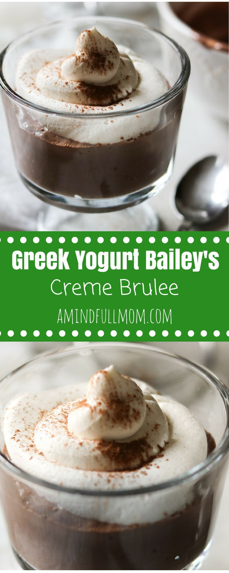 Bailey's Chocolate Mousse: A simple, lighted up version of chocolate mousse that has been spiked with irish liquor and espresso. #dessert #glutenfree #chocolate #lightenedup #greekyogurt via @amindfullmom