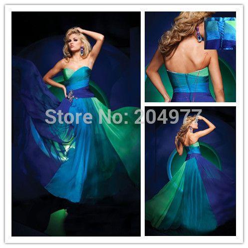 Aliexpress.com da  dan  deki 2014 sıcak satış ucuz resmi kadın elbisesi renkli boncuklu mavi yeşil taban uzunluğu uzun şifon yaz abiye