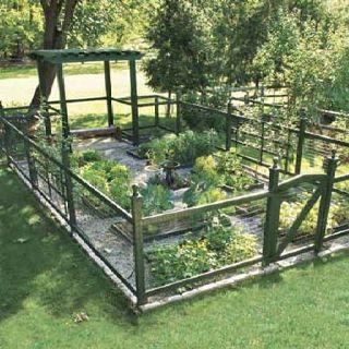 I just love the look of fenced veggie garden