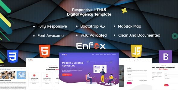 Enfox Responsive Digital Agency Html Template Bootstrap Business Corporate Creative Html5 Css3 Lore Digital Agencies Templates Html Templates