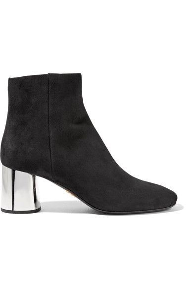 Prada - Suede Ankle Boots - Black