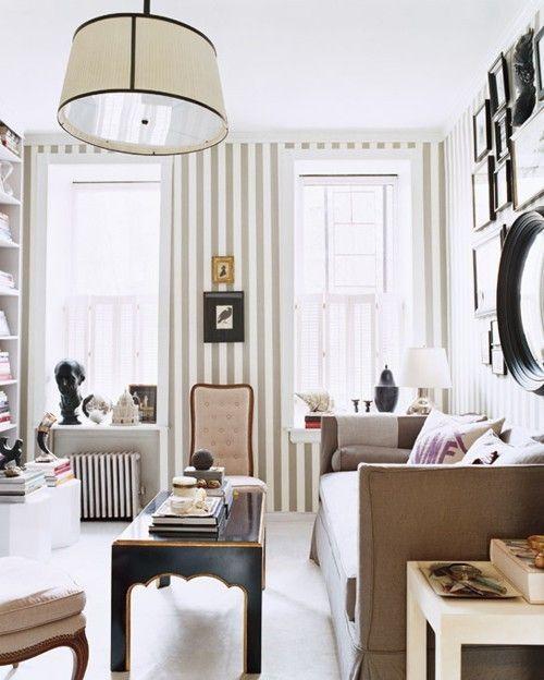 stripes: Decor, Nate Berkus, Living Rooms, Idea, Stripes Wall, Interiors, Strips, Memorial Tables, Small Spaces