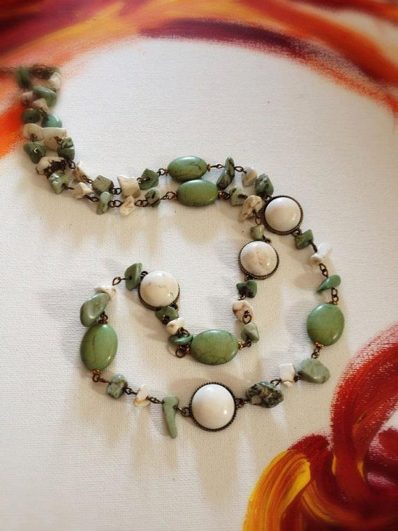 stone long necklace with green olive and white by EmeraldsDreams, $30.85