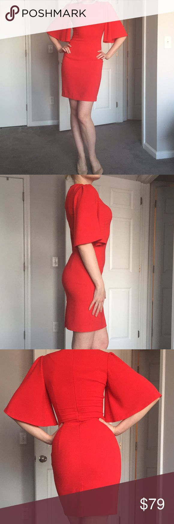 Red bodycon dress Worn once. In great condition. Figure flattering. Color between red and orange red. Us size is not 6 but 4 Dresses Mini