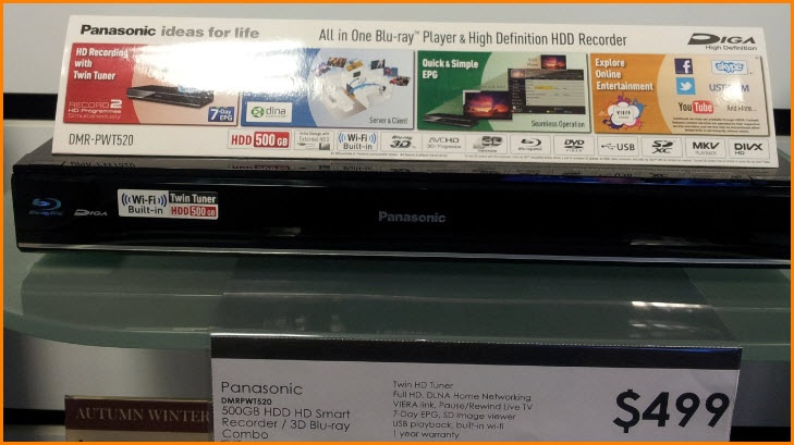 R, Myer.  Panasonic DMR PWT520 Blue-ray Player And HD HDD Recorder, $499.00