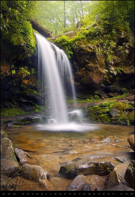 The Grotto - Grotto Falls Waterfall Landscape, Gatlinburg TN by Dave Allen Photography