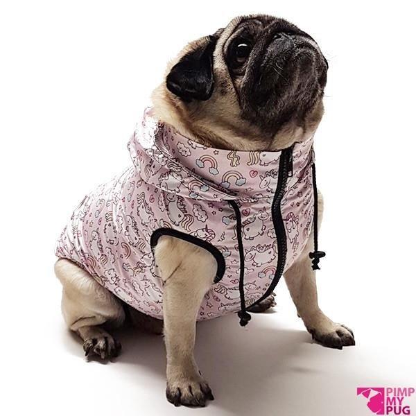Pimp My Pug Pink Unicorn Rainbow K-Way Jacket