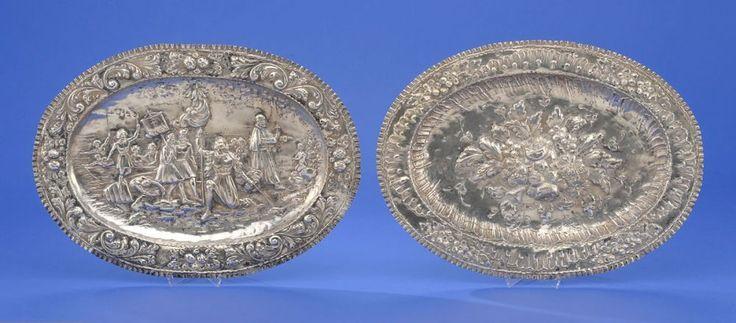 Zwei Reliefplatten im Barockstil Kolumbus entdeckt Amerika. Blumenbukett. Keine sichtbaren Punzen. 3 — Silber