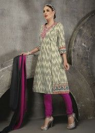 Casual Wear Cotton Cream Printed Churidar Suit