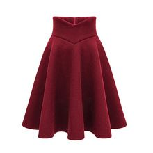 S-xxxl alta qualidade mulheres lã saia de cintura alta Zip Up engrosse saias inverno plissado na altura do joelho saias Plus Size DK6156(China (Mainland))