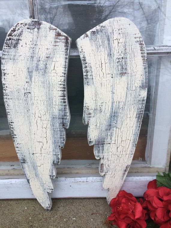 shabby chic angel wings, wooden angel wings,15-17 tall and 4-5 inches wide, ivory with crackle finish, *not every pair looks the same*