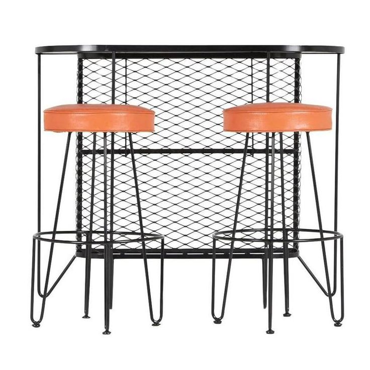 Frederick Weinberg, Restored Three-Piece Wrought Iron Bar and Stools, 1950s | From a unique collection of antique and modern dry bars at https://www.1stdibs.com/furniture/storage-case-pieces/dry-bars/