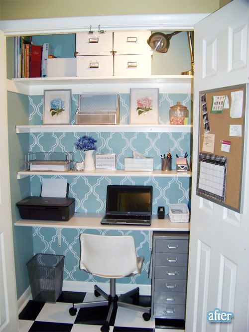 Office in a closet. I'd love this, because then I could close the closet door and not think about work! hahaha