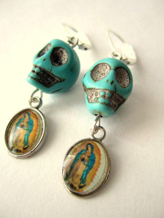 Day of the dead earrings Turquoise Skull by BohemianHooksJewelry, $10.00