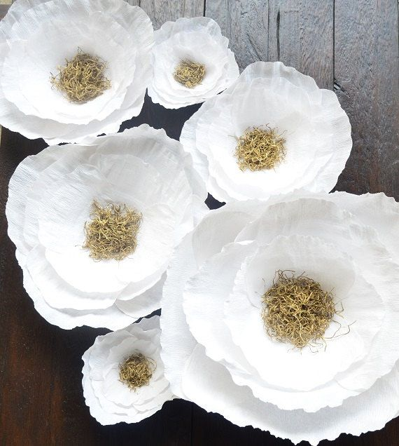 Gorgeous white and gold crepe paper flowers for hanging. Perfect for weddings, nurseries, birthday parties, baby showers, and more! Handmade