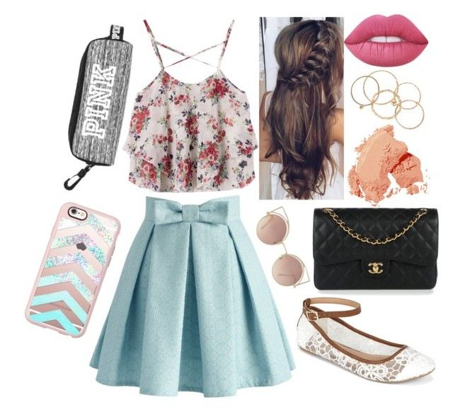 Prep Junior Outfit #5 by taylor-kennedy-i on Polyvore featuring polyvore fashion style Chicwish Call it SPRING Chanel NLY Accessories Casetify MANGO Bobbi Brown Cosmetics Lime Crime clothing school Prep fashionset Junior