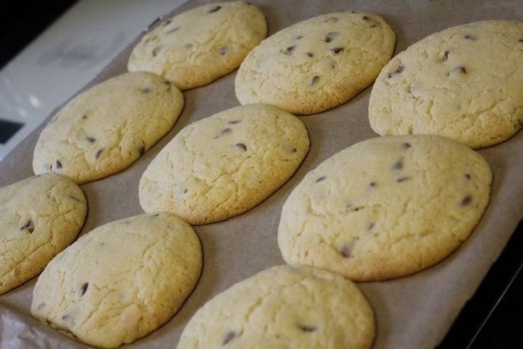 Millies cookies :D    Ingredients list:   125g butter, softened  100g light brown soft sugar  125g caster sugar  1 egg, lightly beaten  1 tsp vanilla extract  225g self-raising flour  ½ tsp salt  200g chocolate chips  Preheat the oven to 180°C, gas mark 4