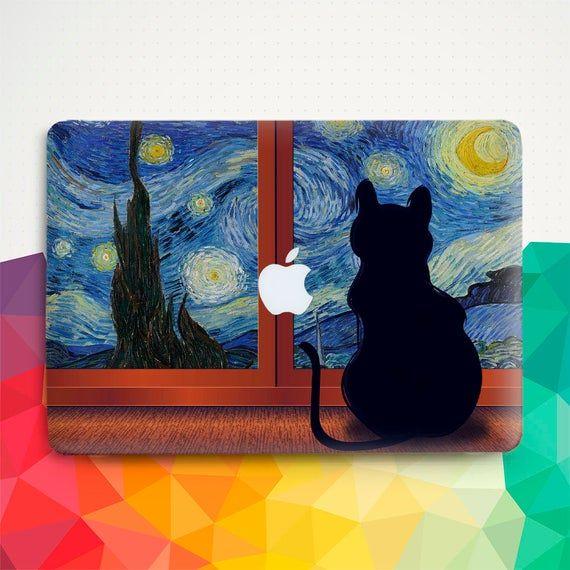 Cat Macbook Vintage Macbook Air 13 inch 2018 Pro 13 15 Macbook 12 inch Starry Night Nature Van Gogh Art Cute Painting Girl Kawaii Hard cover