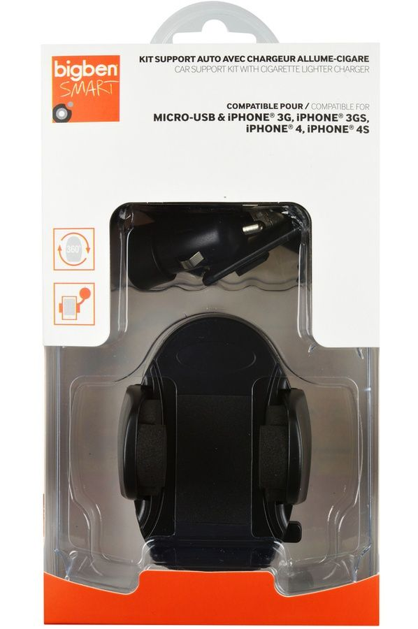 Support pour téléphone mobile Bigben PACK SUPPORT VOITURE UNIVERSEL AVEC CHARGEUR ALLUME CIGARE