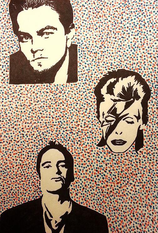 Pop Art of Leonardo DeCaprio, David Bowie and Quentin Taratino