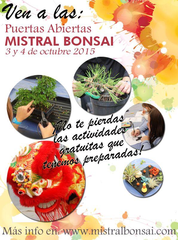 ¡Ya queda menos para las jornadas de Puertas Abiertas Mistral Bonsai! Con los maestros: Nacho Salar y Andrés Bicocca y muchas actividades grautitas para disfrutar todo el fin de semana.