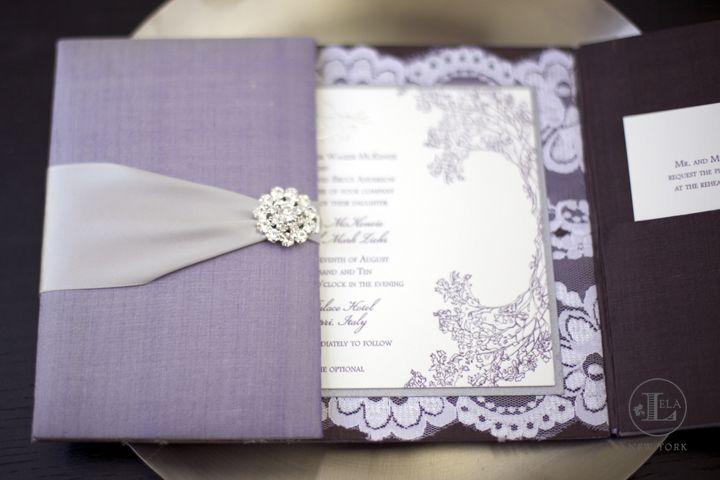 invitations, purple, letterpress, boxed wedding invitations, luxury wedding invitations, lace, silk invitations, crystal invitations, lavendar, Fall, Spring, Summer, Winter