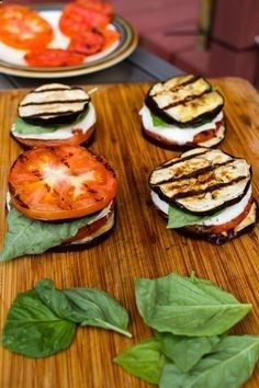 Grilled caprese with Eggplant recipe, yum! | More Recipes : www.indian-shoppi...