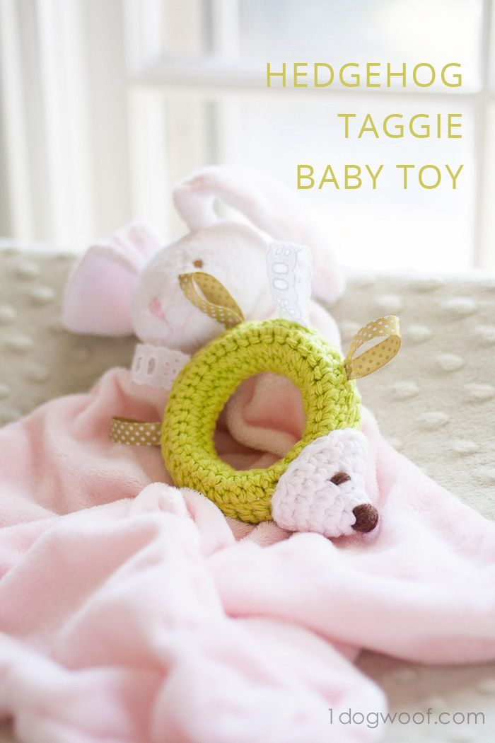Hedgehog Taggie Baby Toy Crochet Pattern | Makes  great gift! | www.1dogwoof.com