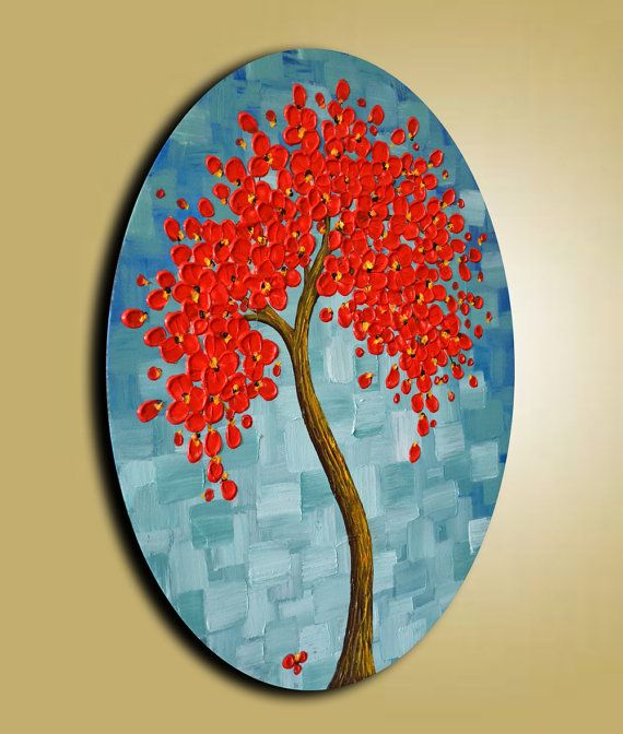 Textured Red Cherry Blossom Tree Painting 16x20 Oval by ZarasShop