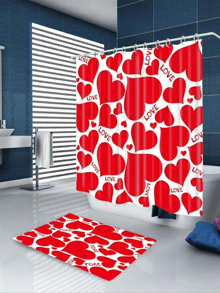 Valentine S Day Multi Hearts Printed Waterproof Shower Curtain