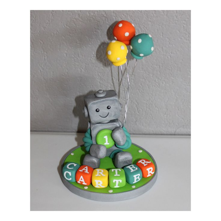 Custom Robot Cake Topper for Birthday or Baby Shower by carlyace on Etsy https://www.etsy.com/listing/197901170/custom-robot-cake-topper-for-birthday-or