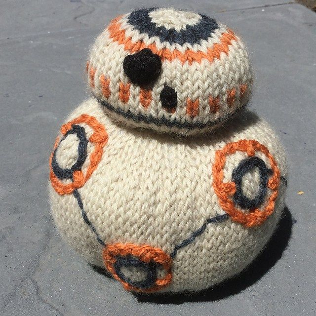 """Free knitting pattern for BB-8 Droid toy softie - Designed by Juanita McLellan, this pattern for the Droid unit BB-8 from """"Star Wars: The Force Awakens"""""""