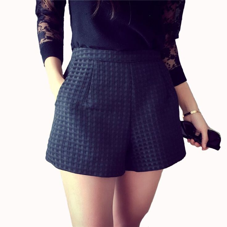 NIJIUDING 2017 Nuovo Burlone di Modo Plaid scuro pantaloncini pantaloncini a vita alta Coreano donne Casuali Pantaloncini di Jeans pantaloncini crochet